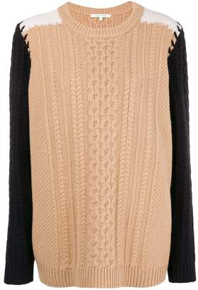 Parker Chinti & contrast sleeve aran knit sweater