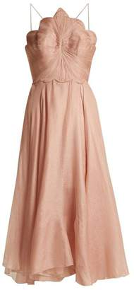 Maria Lucia Hohan Daisy Scallop Edged Silk Mousseline Dress - Womens - Light Pink