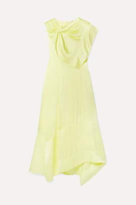 3.1 Phillip Lim Asymmetric Twist-front Satin Dress - Pastel yellow