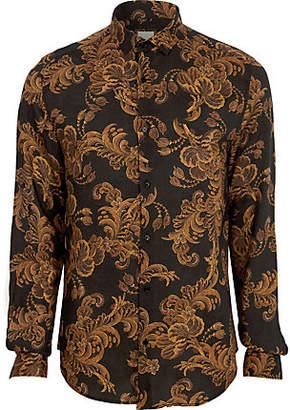 River Island Big and Tall black baroque long sleeve shirt