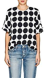 Lisa Perry Women's Dot-Print Crepe Flyaway Blouse - White