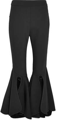 Ox Bow Cropped Crepe Flared Pants - Black
