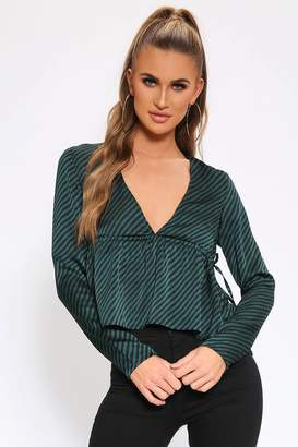0465ca515572e9 I SAW IT FIRST Green Striped Deep Plunge Blouse