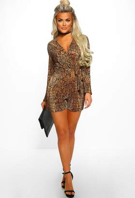 17c3d9ceb76 Pink Boutique Lady In Snake Gold Pleated Snake Print Wrap Playsuit