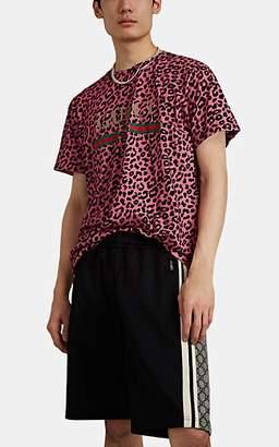 d998be21e Gucci Men's Vintage-Logo Leopard-Print Cotton T-Shirt - Black