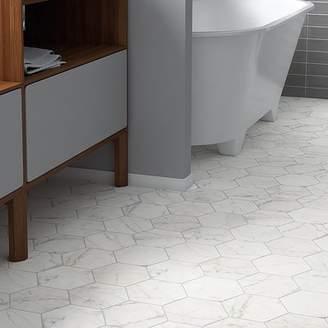 EliteTile Karra Carrara 7 x 8 Porcelain Field Tile in White/Gray
