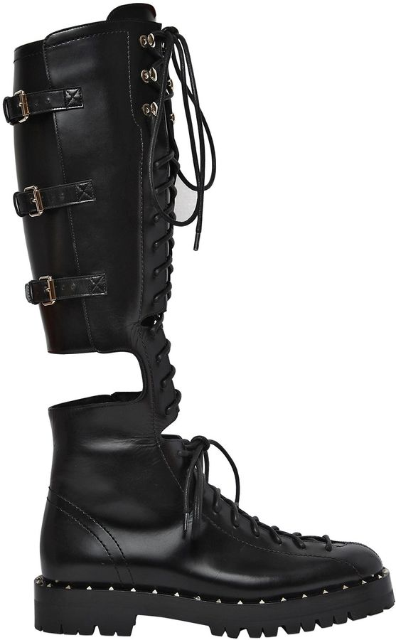 30mm Soul Rockstud Cutout Leather Boots