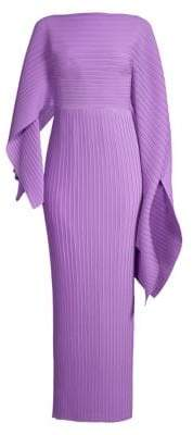 SOLACE London Women's Adami Pleated Asymmetric Sleeve Gown - Dark Lilac - Size 0