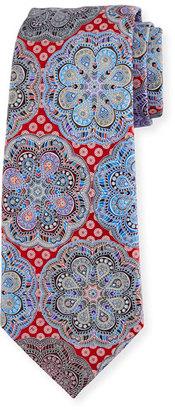 Ermenegildo Zegna Quindici Flower Medallion Tie, Red $285 thestylecure.com