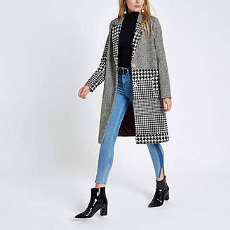 River Island Womens Black mixed check wool coat