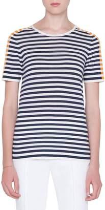 Akris Punto Striped Wool-Knit T-Shirt