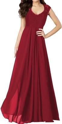 Miusol? Women's Casual Deep- V Neck Sleeveless Vintage Maxi Black Dress