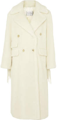 Max Mara Oversized Fringed Faux Fur Coat - White