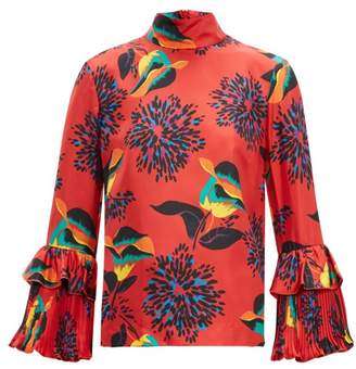 La DoubleJ Floral Print Silk Twill Blouse - Womens - Red Print