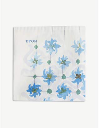 Eton Floral tile print linen-blend pocket square