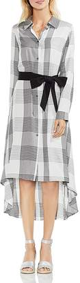 Vince Camuto Oversized Plaid High/Low Shirt Dress