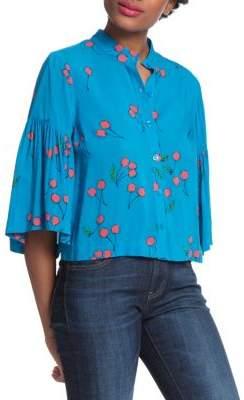 Plenty by Tracy Reese Cherry Printed Flounce Sleeve Shirt