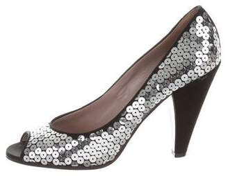 Marc by Marc Jacobs Satin Sequined Pumps
