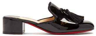 Christian Louboutin Barry 45 Tassel Embellished Patent Leather Mules - Womens - Black