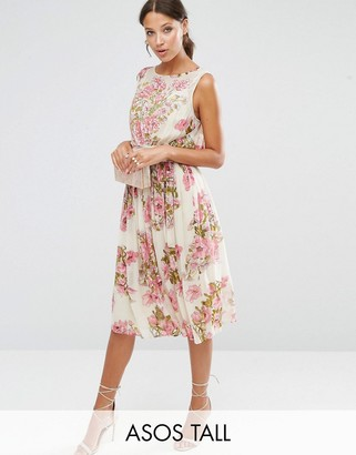 ASOS Tall ASOS TALL SALON Pretty Floral Soft Midi Dress with Embellished Bodice $128 thestylecure.com
