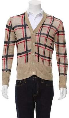 Black Fleece Linen Plaid Cardigan