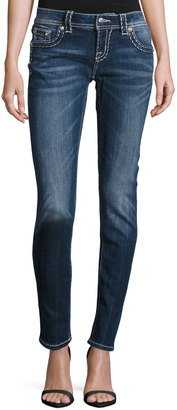 Miss Me Faded Embroidered Skinny Jeans, Medium Blue $69 thestylecure.com