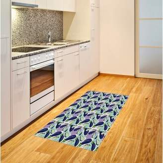 East Urban Home Ambesonne Eggplant Area Rug, Luscious Sliced Aubergines In A Multicolored Environmnet Tasty And Natural Life, Flat Woven Accent Rug For Living Room Be