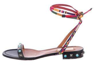 Valentino Rolling Rockstud Embroidered Sandals