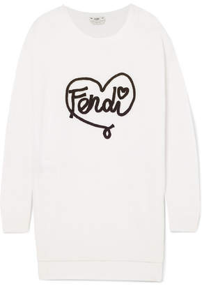 Fendi Embroidered Cashmere Sweater - White