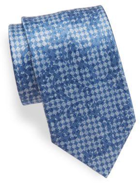 BrioniChecked Paisley Silk Tie