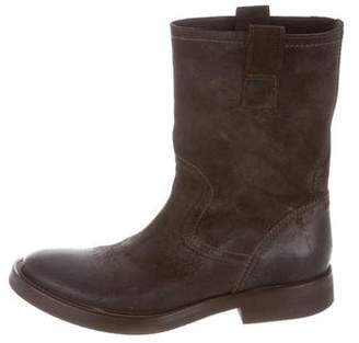 Buttero Distressed Suede Mid-Calf Boots