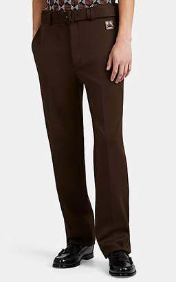 Prada Men's Logo-Patch Double-Knit Jersey Belted Trousers - Brown