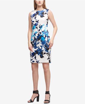 DKNY Flower Branch Scuba Sheath Dress, Created for Macy's