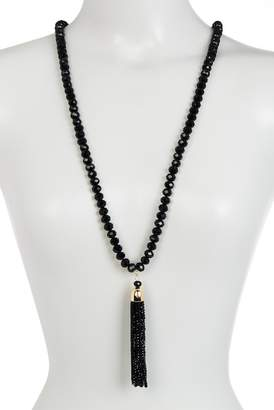 14th & Union Beaded Long Strand Tassel Necklace
