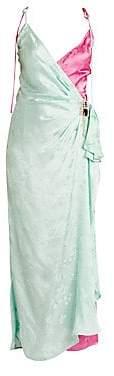 ATTICO Women's Bicolor Floral Jacquard Slip Dress