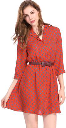 Allegra K Women's Polka Dots 3/4 Sleeves Above Knee Belted Shirt Dress S