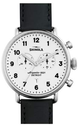 Shinola The Canfield Chrono Leather Strap Watch, 43mm