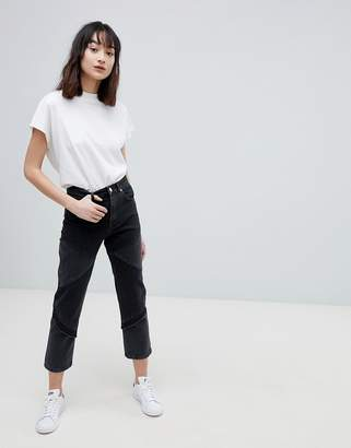 Asos Design DESIGN Florence Authentic Straight Leg Jeans In Cut About Washed Black