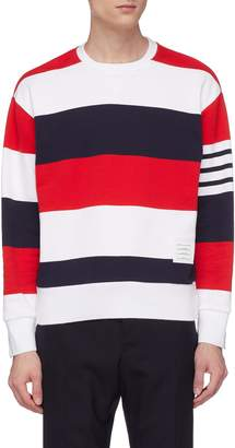 Thom Browne Button cuff stripe sweatshirt
