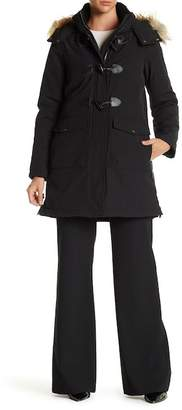 DKNY Faux Fur Hooded Toggle Parka Coat $250 thestylecure.com
