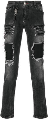 Philipp Plein ripped effect jeans