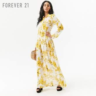 Forever 21 (フォーエバー 21) - Forever 21 フラワーシフォンロングシャツワンピース