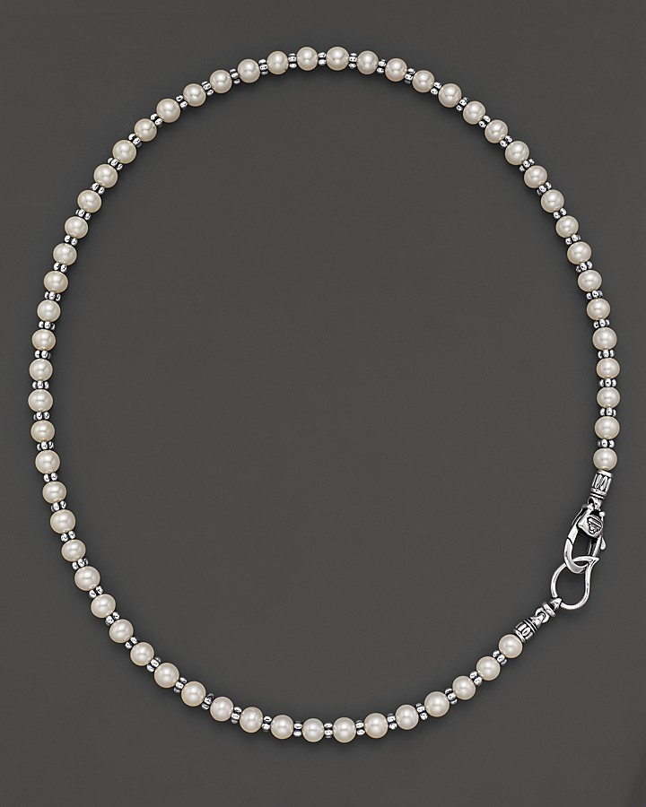 """Lagos Sterling Silver and Pearl Necklace, 20"""""""