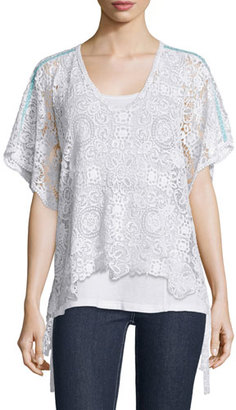 Johnny Was Short-Sleeve Crochet Cotton Poncho, White $245 thestylecure.com