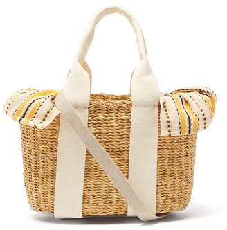 Muun Mini Caba Striped Canvas And Straw Bag - Womens - Yellow Multi