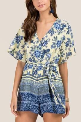francesca's Kailey Floral Print Tie Waist Romper - Lemonade