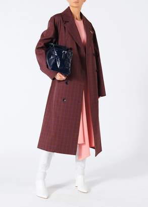 Tibi Menswear Check Oversized Trench with Removable Lining