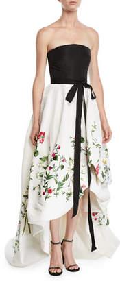 Oscar de la Renta Strapless Ribbon-Belt Botanical-Embroidered High-Low Evening Gown