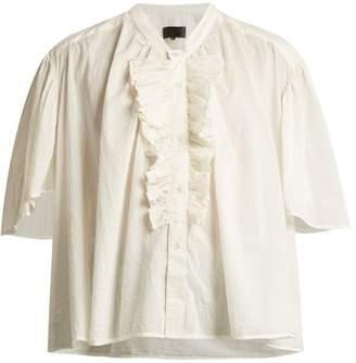 Nili Lotan Rita Ruffle Front Cotton Blouse - Womens - White