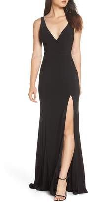 Mac Duggal IEENA FOR  Plunge Neck Slit Jersey Gown